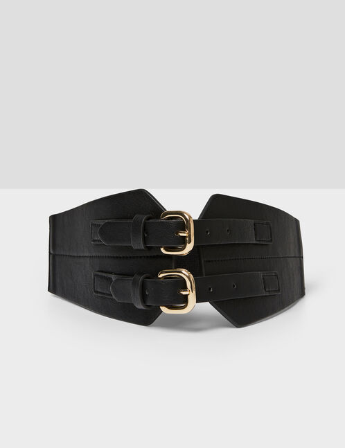 Wide black double-buckled belt