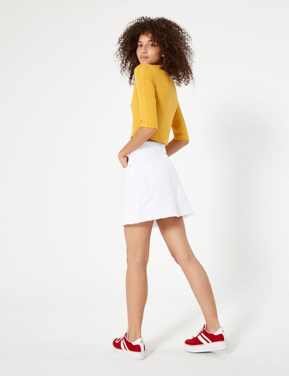 White zipped denim skirt