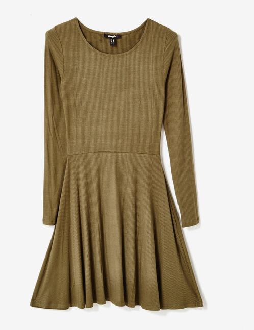 Khaki flared ribbed dress