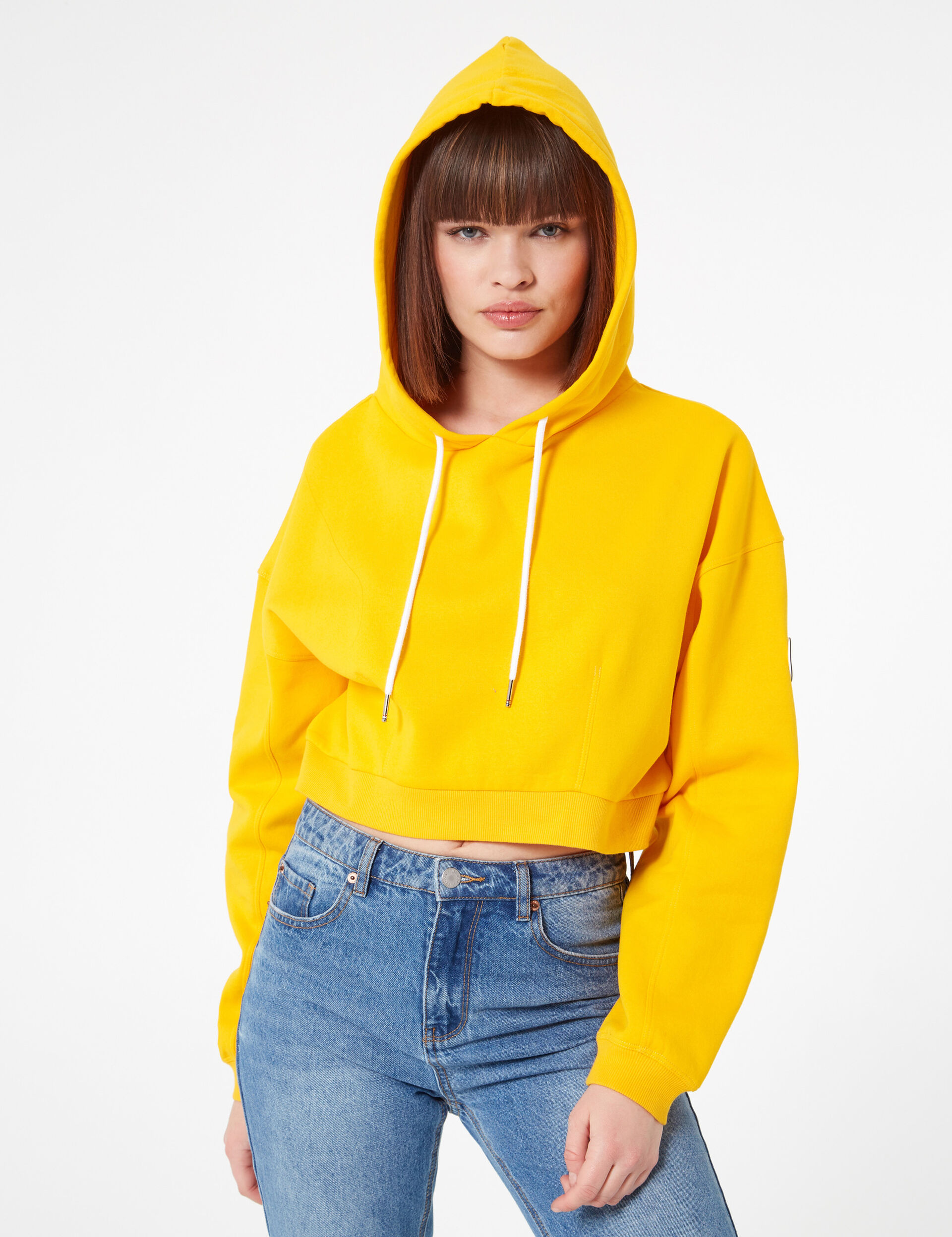Cropped ochre hoodie