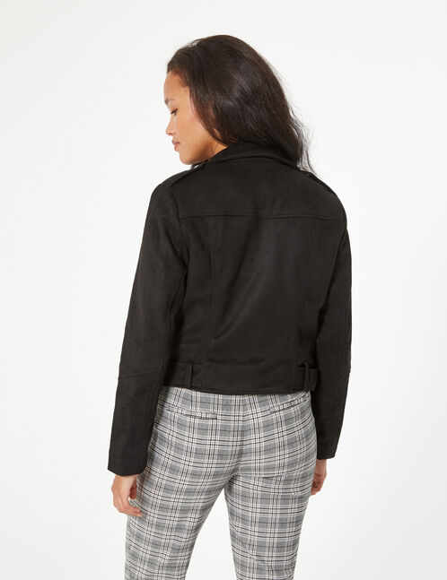 faux suede biker jacket