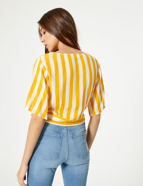 Yellow and cream striped buttoned shirt