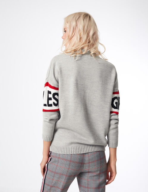 Grey marl jumper with text design detail