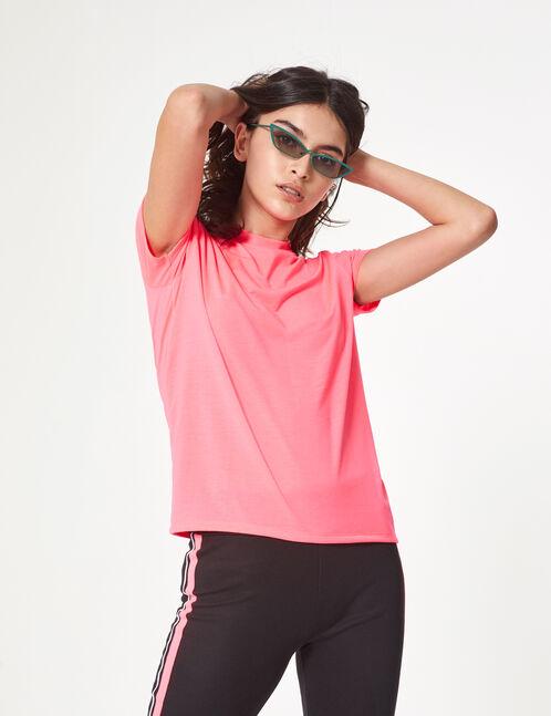 tee-shirt basic rose fluo