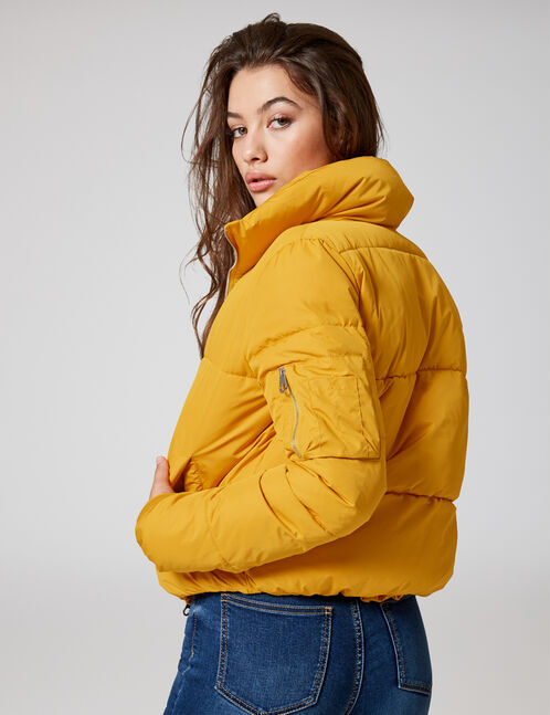 Ochre high-neck padded jacket