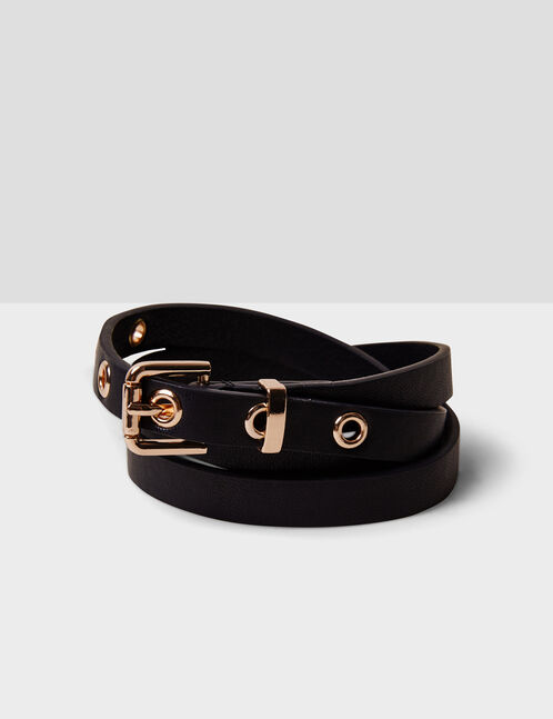 Black skinny belt with eyelet detail