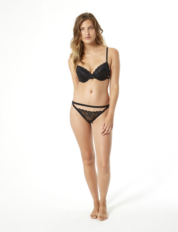 Lace thong with waistband