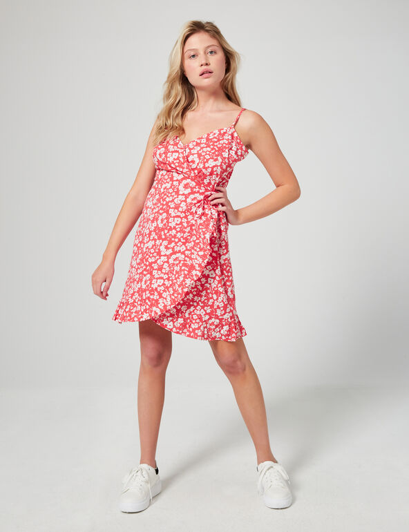 Floral wraparound dress