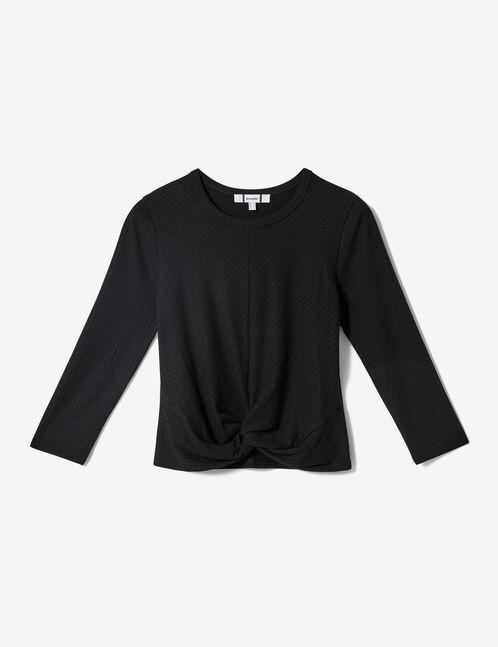 tee-shirt effet noué noir