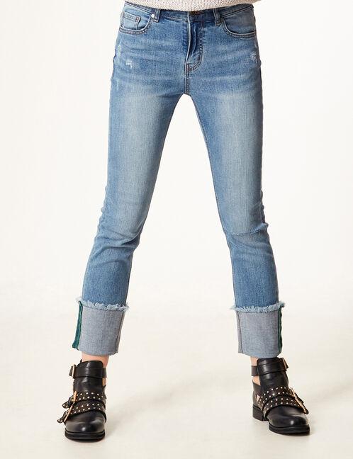 jean slim avec revers medium blue