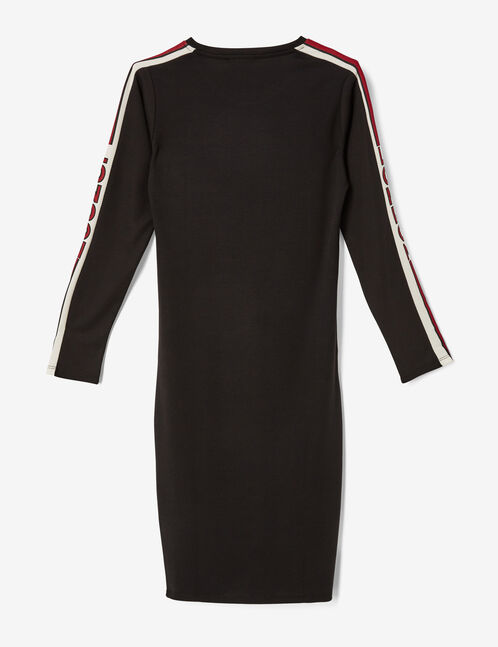 Long black and burgundy dress with side trim detail
