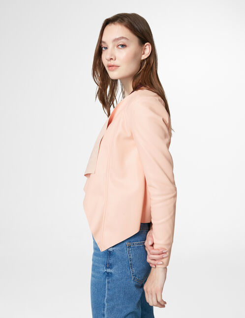 Light pink open-front faux leather jacket
