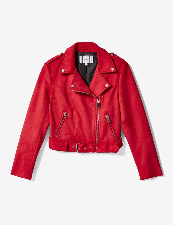 Red faux suede biker jacket