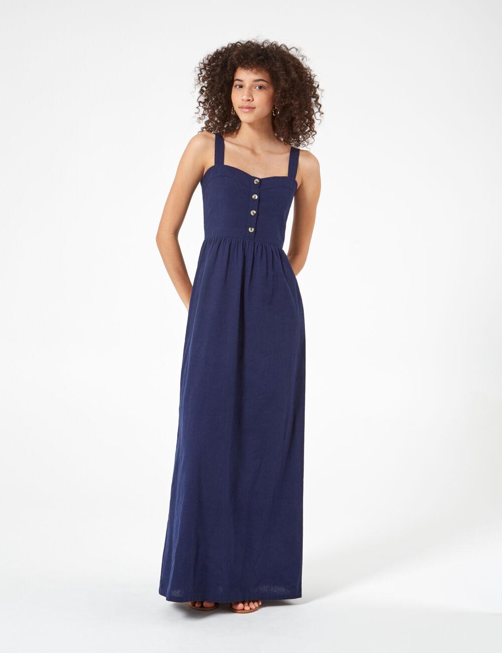0711b8ef82a Robe longue bleu marine woman • Jennyfer