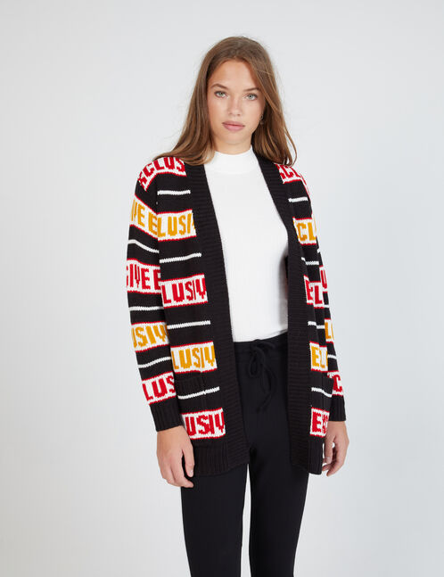 Long black, red and ochre cardigan with text design detail