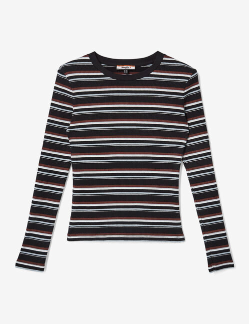 Black, plum, white and light blue striped ribbed top