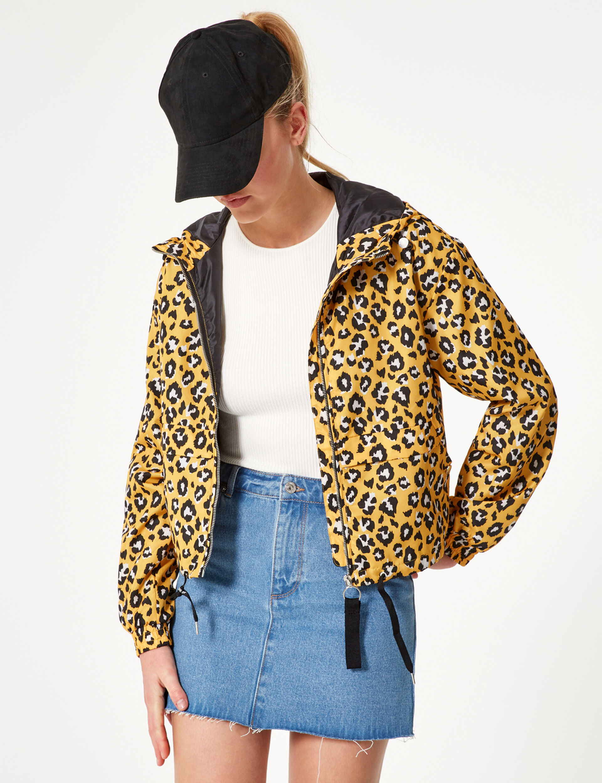 Veste légère léopard jaune