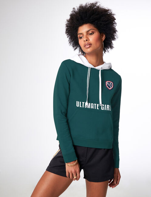 Green and white hoodie