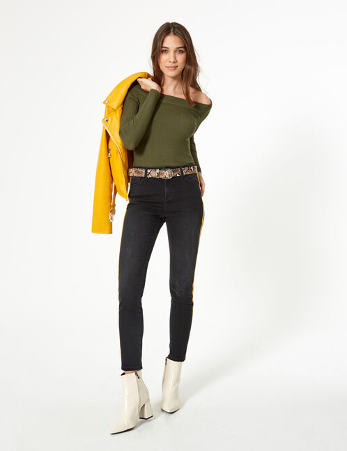 Black, ochre and brown jeans with side trim detail