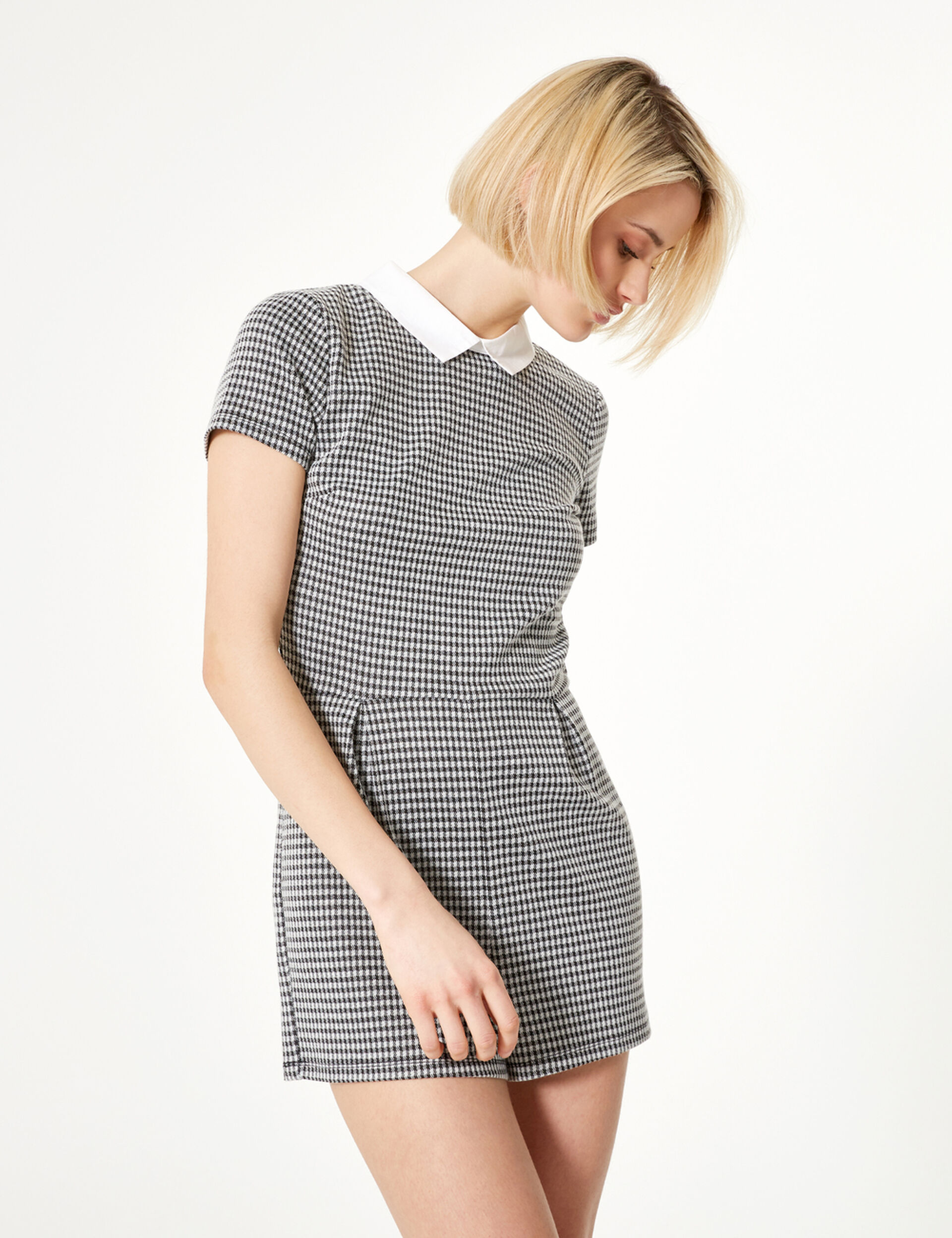 Black and white houndstooth playsuit