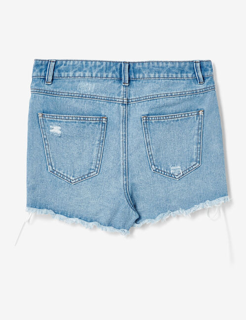 Light blue denim shorts with lacing detail