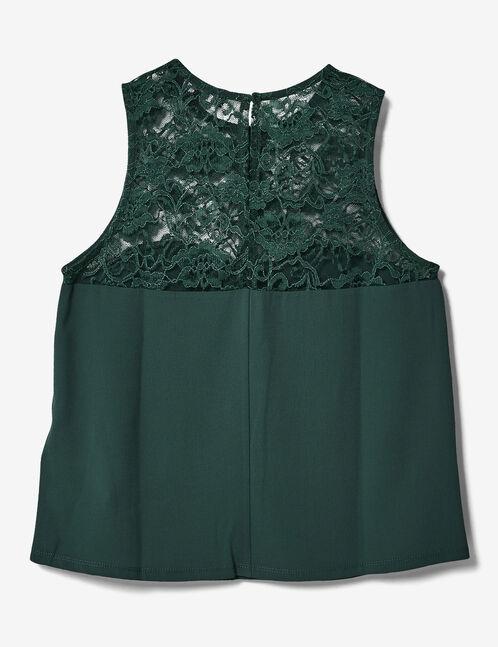 Green mixed fabric top