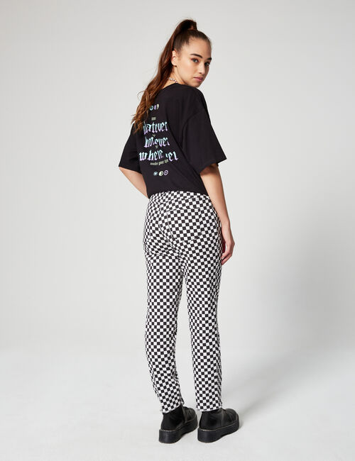 Printed mom jeans