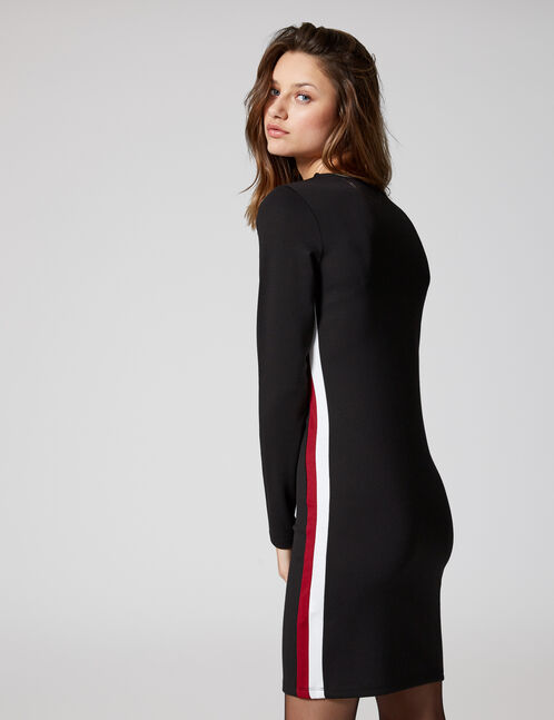 Black, burgundy and cream dress with side stripe detail
