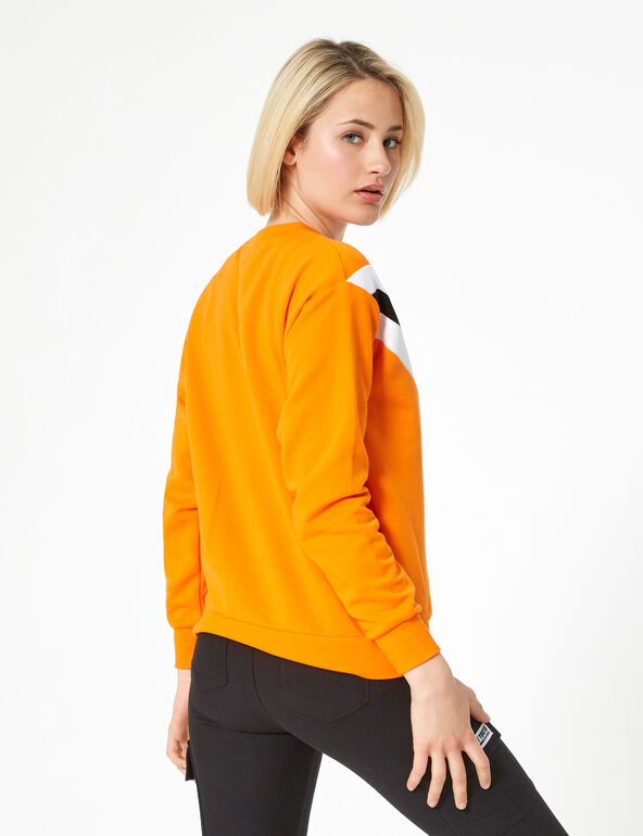 Orange sweatshirt with chevron detail