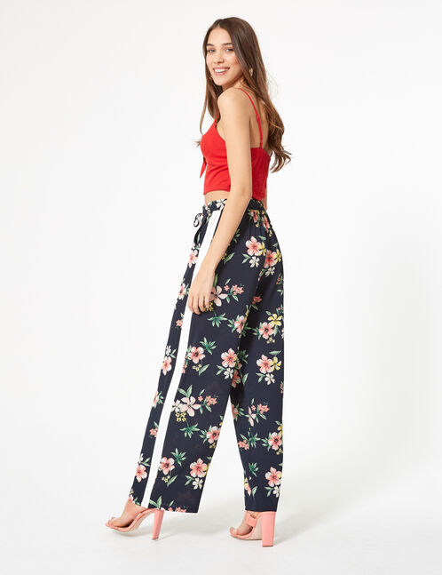 Navy blue floral loose-fit trousers