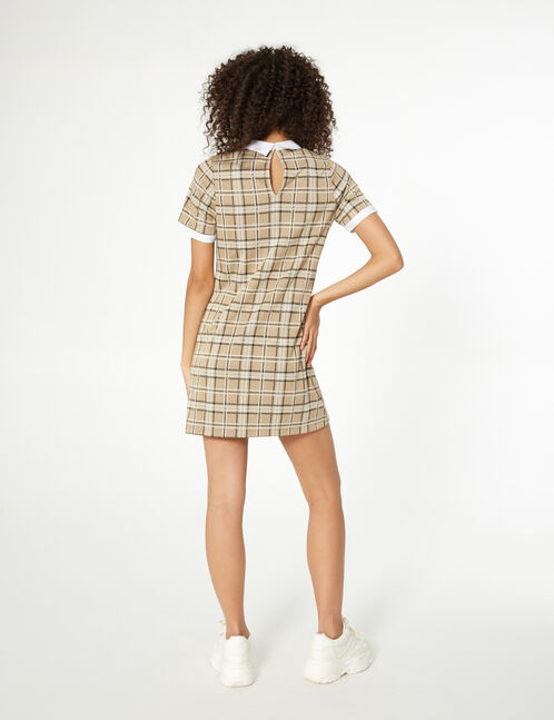 Beige, white and black checked dress