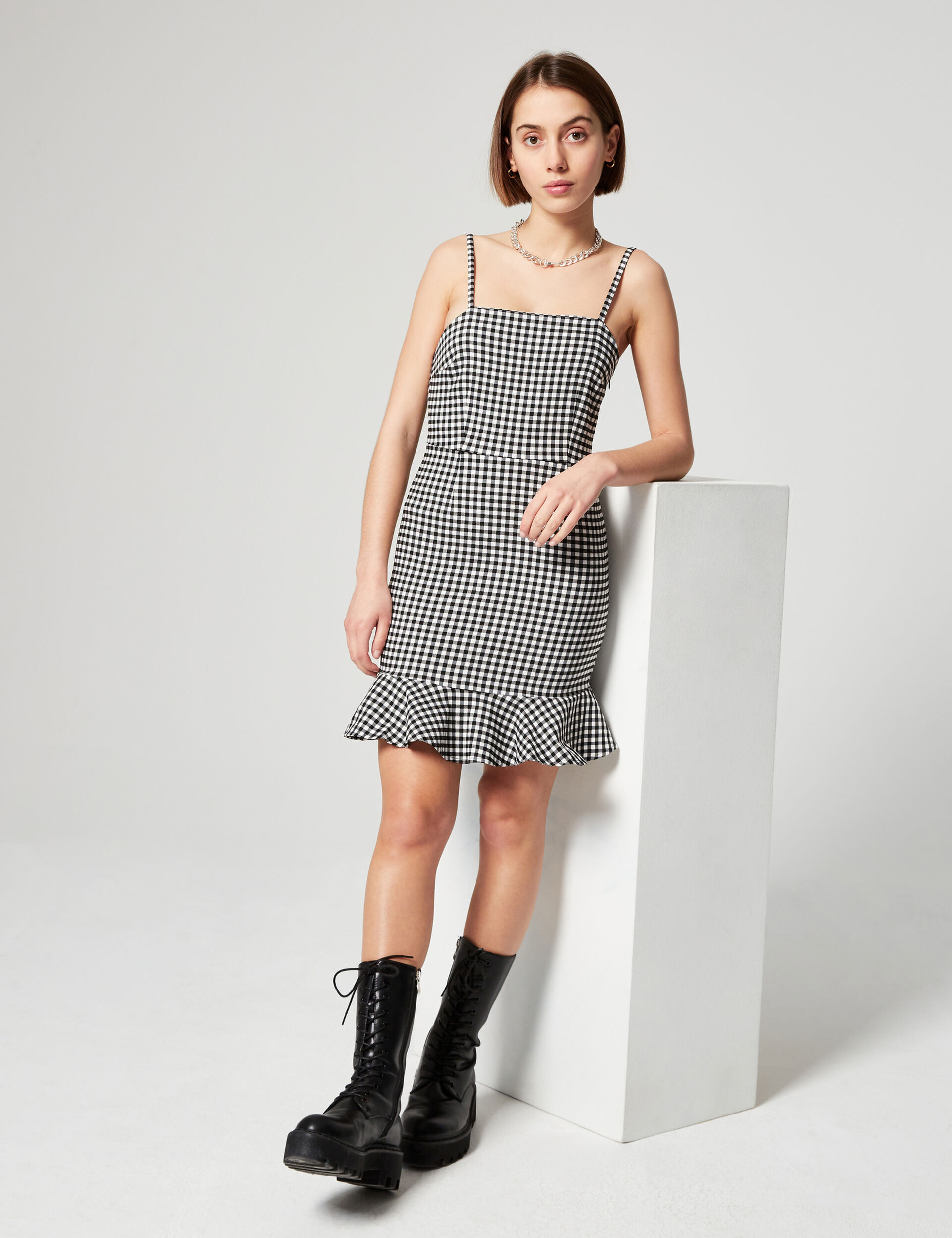 Checked fitted dress