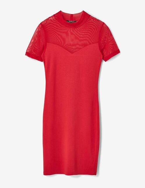 robe ajustée avec résille rouge
