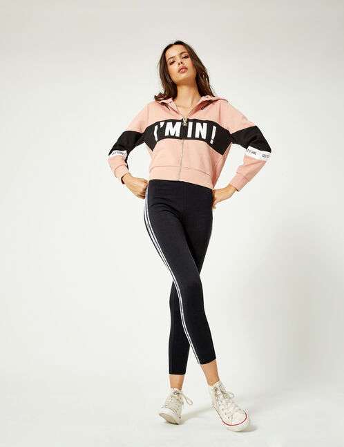 Black leggings with text design detail