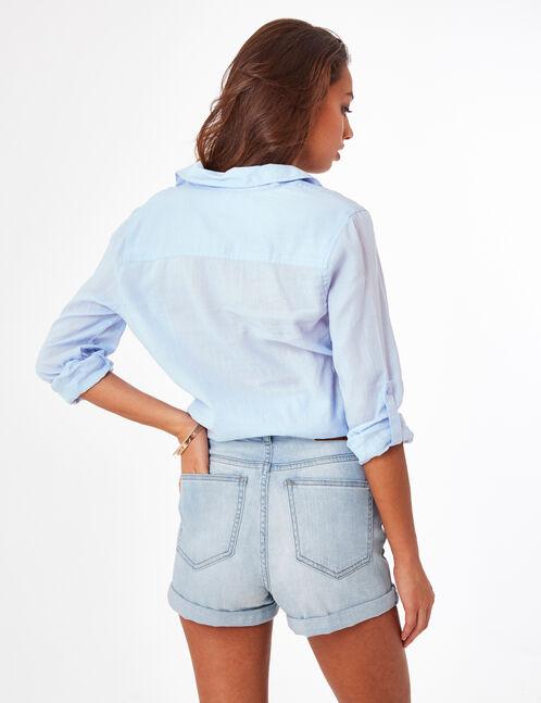 Light blue tie-fastening shirt