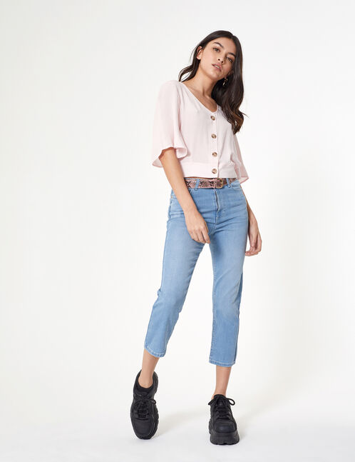 Light blue straight leg jeans