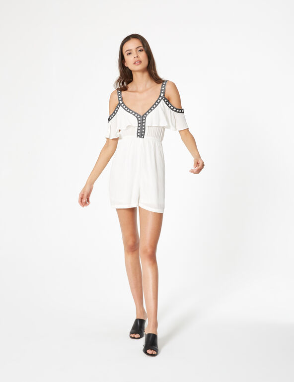 Loose-fit playsuit with frill detail