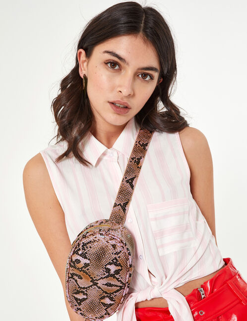 Pink and black python skin bum bag
