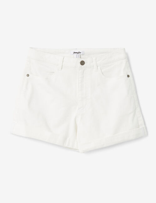 Cream turn-up shorts