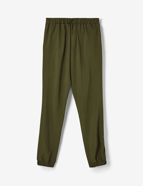 Khaki trousers with side trim detail