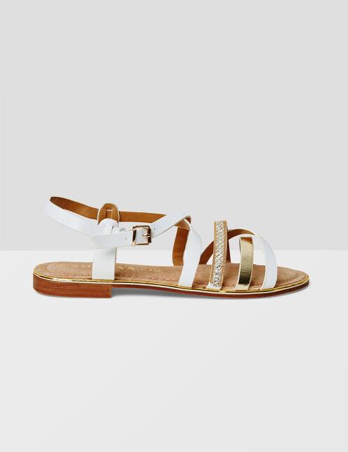 sandales avec liens blanches et dorées
