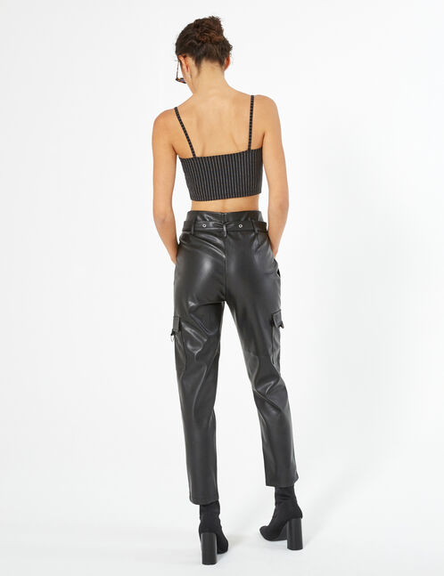 faux-leather cargo trousers
