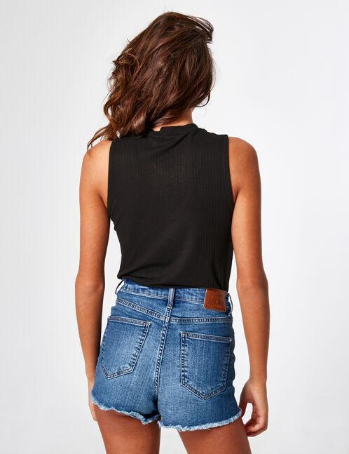 tee shirt avec ouverture noir