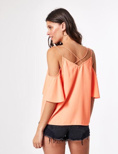 blouse épaules ajourées corail