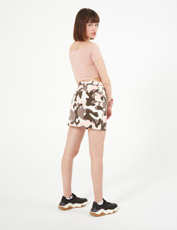 Pale pink, grey and white camouflage skirt with chain detail