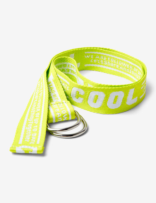 neon yellow cool print belt