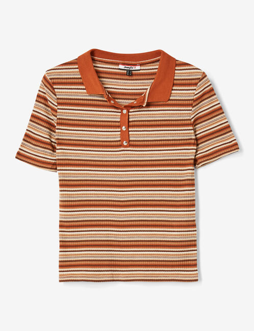 Camel striped polo shirt