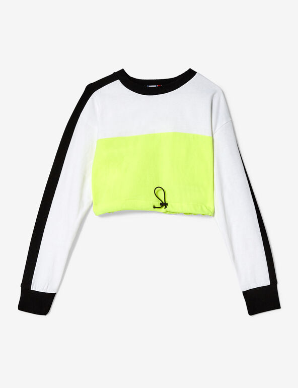 Cropped neon yellow, black and white sweatshirt