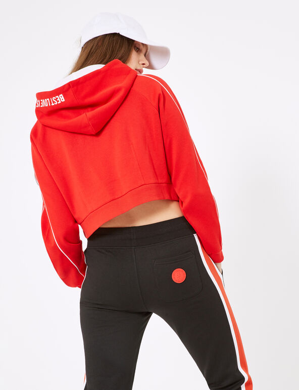Sweat crop à capuche rouge