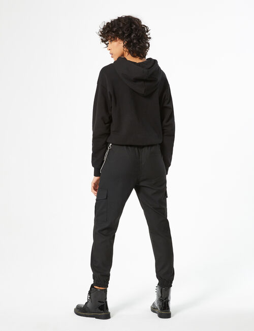 Cargo trousers with rhinestone chain detail